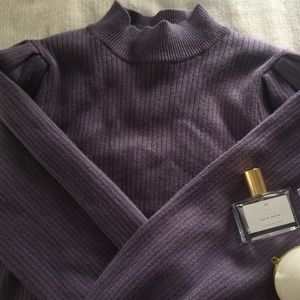 balloon sleeved purple sweater from forever21! ☔️